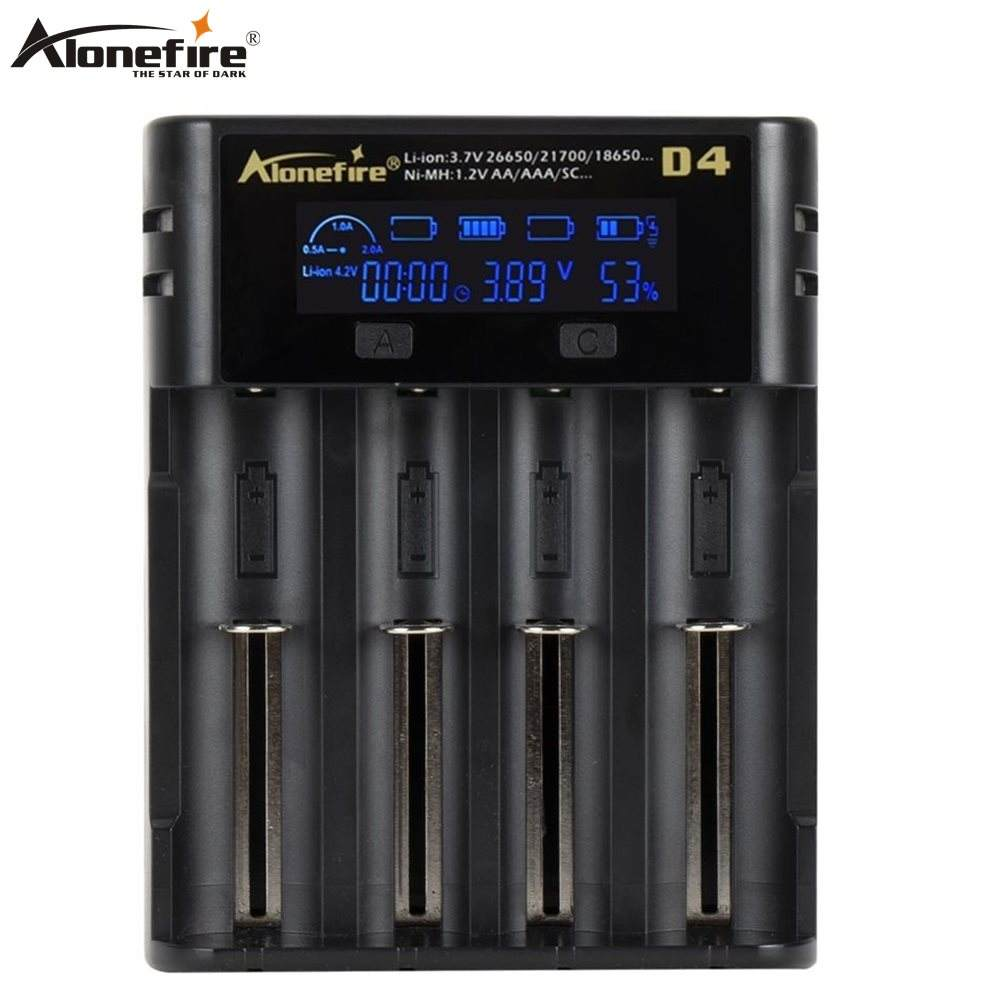 Alonefire D4 Smart Charger 18650 26650 21700 Battery LCD Screen Display USB 4 slots Charging AA AAA Intelligent 2A Fast Charger