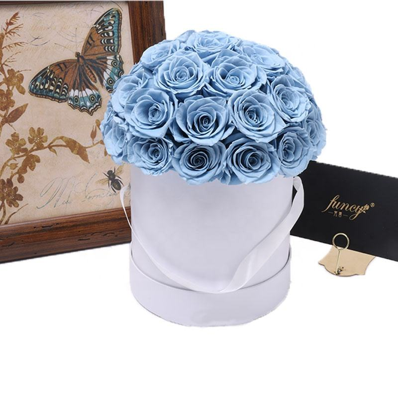 Promotional Items Wedding Decor Luxury Customized Infinity Forever Round Carton Preserved Rose in Box Gift