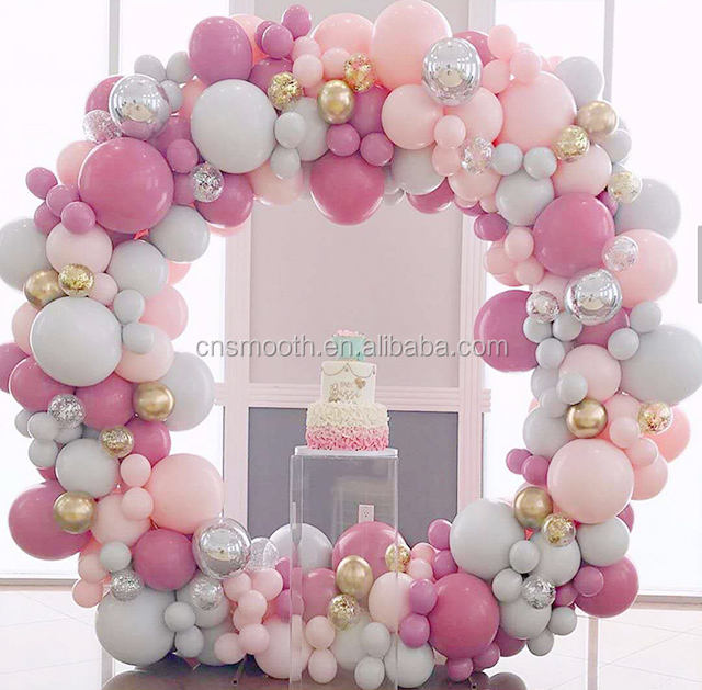 7ft Party Ballon Kit Photo Booth Iron Stainless Round Gloss Gold Wedding Backdrop Stand Hoop
