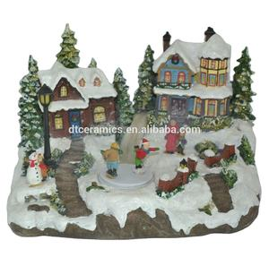 LED lights Christmas resin model house village with snow battery operated