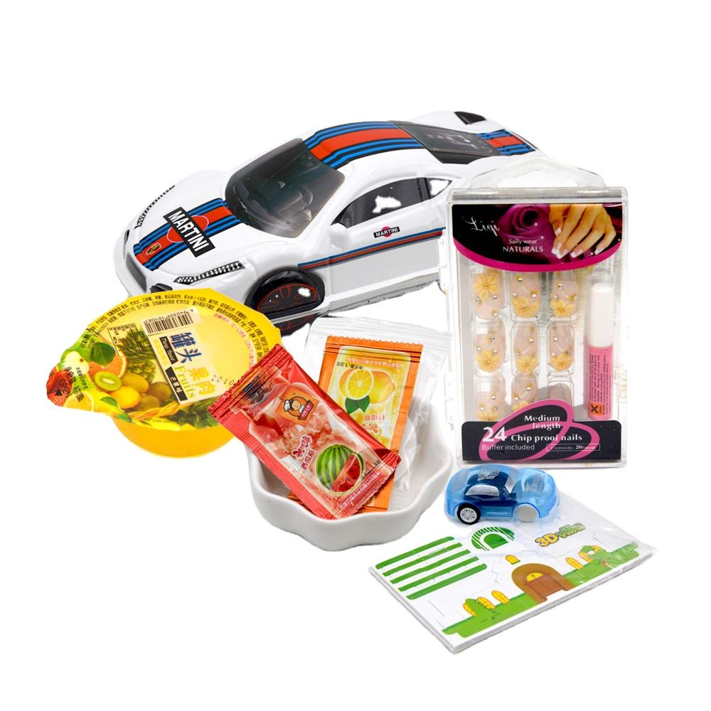 Surprise car toy with jelly and popping candy