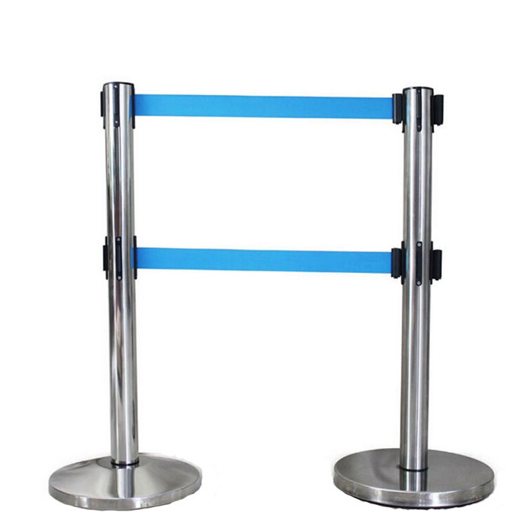 Purple Twisted Rope traffic barrier 1.5 Stanchion Crowd Control Safety Retractable Belt floor barrier