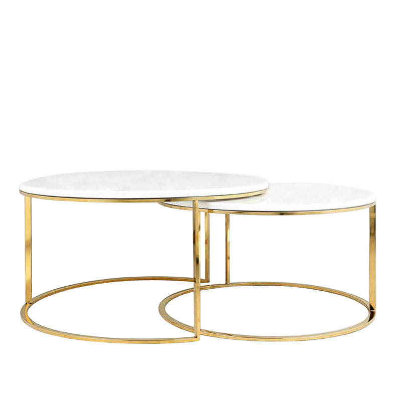 Chinese supplier living room furniture design modern marble center coffee table gold