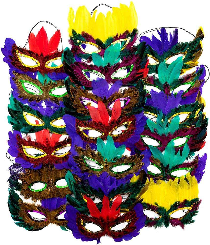 1 Dozen Fantasy Feather Masks 12 Assorted Styles, Masquerade Masks for Mardi Gras Costume Party Favors