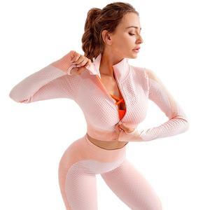 Ptsports wholesale fitness seamless yoga pants and jacket sets Amazon hot sportswear women set sportswear women