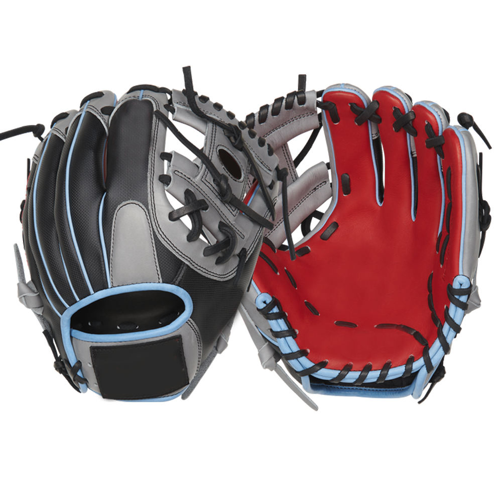11.5 inches steerhide leather black baseball gloves with custom logos