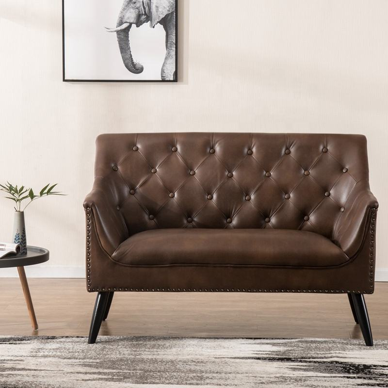 Antique American Style Synthetic Leather Brown Tufted Couch Love Seat Living Room