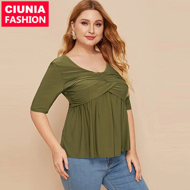 <span class=keywords><strong>2012</strong></span> # Oficina Tops de <span class=keywords><strong>moda</strong></span> Casual al por mayor media manga de las mujeres es Simple Color liso plisado blusa Tops Plus tamaño