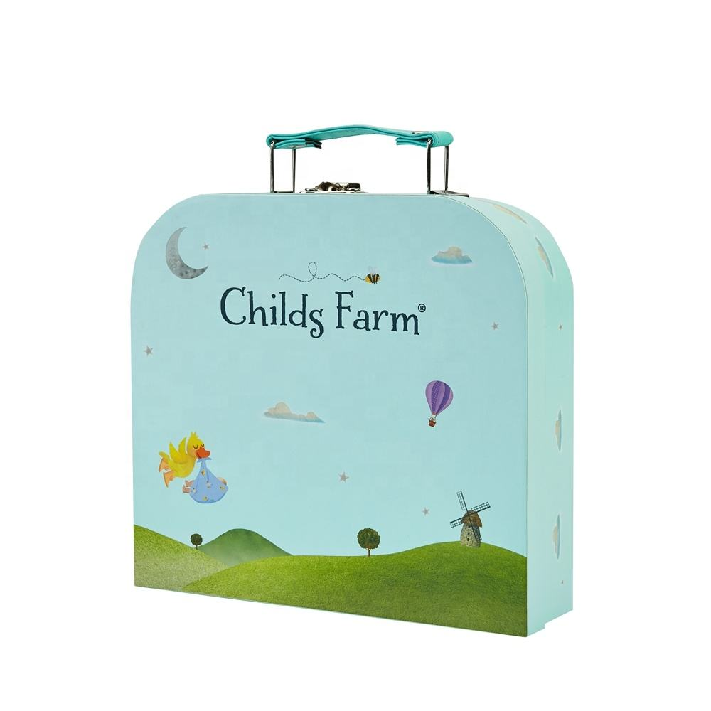Colorful Printing Bespoke Design Children Gift Packaging Rigid Cardboard Paper Suitcase Box With Handle