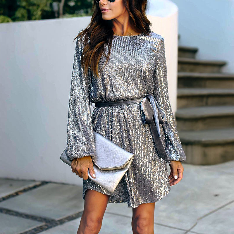 2020 casual party sequin women loose dress women night club long sleeve ropa de mujer dress women clothing