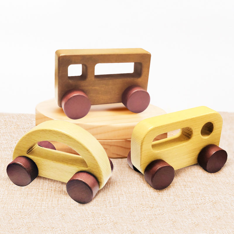 Montessori Nursing toys vehicles for Kids and Home Activities Baby wooden Toddler car