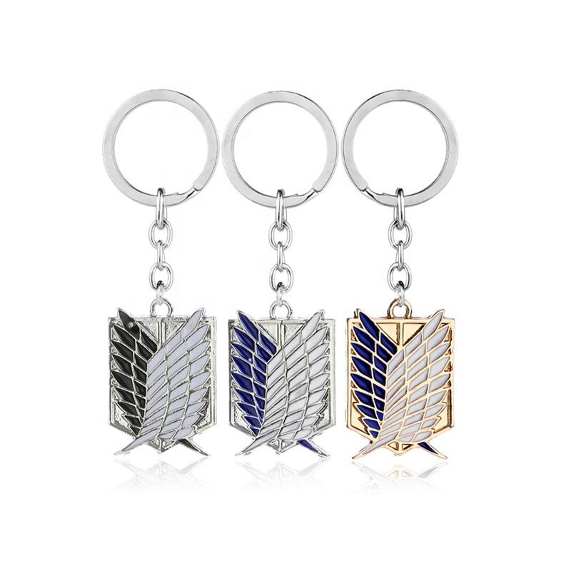 Promotion Fashion Cute Cartoon Anime Style Keyring Soft Enamel Zinc Alloy Metal Attack On Titan Keychain For Gifts