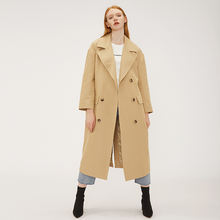 French style casual daily wear oversized cotton blend double breasted beige trench coat
