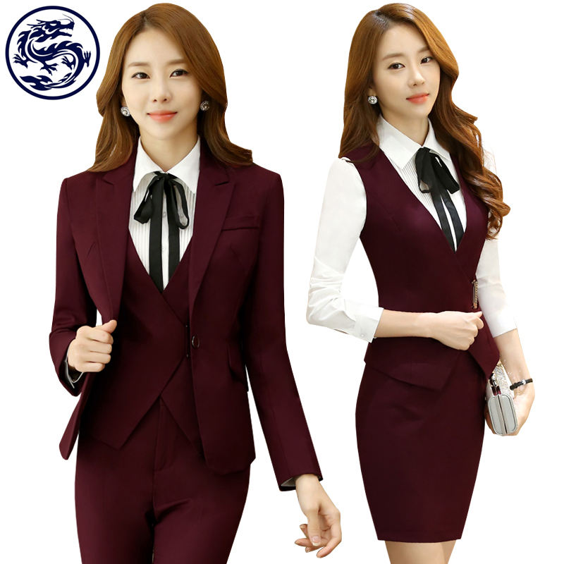 Red Blue Purple Color Women Hotel Uniform for Office Staff Uniforms