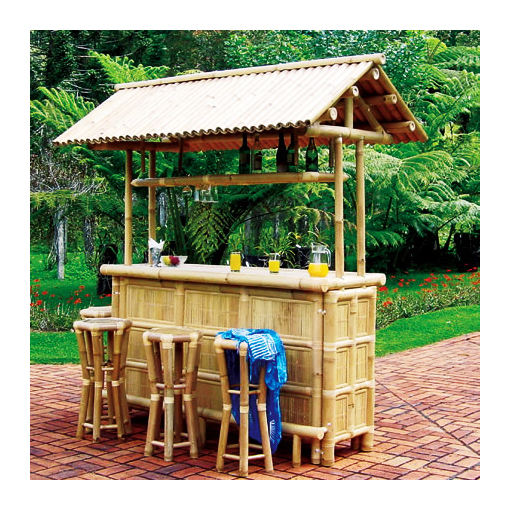 Hot sale bamboo tiki bar with stools for outdoor or Beach Fun outdoor bamboo bar counter for sale