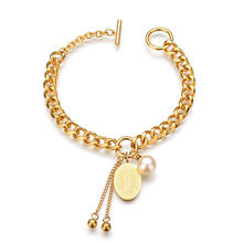 New Arrival Religion Virgin Mary Coin Charm Bracelet Gold Plated Stainless Steel Chain Link Bracelet Jewelry for Women Men