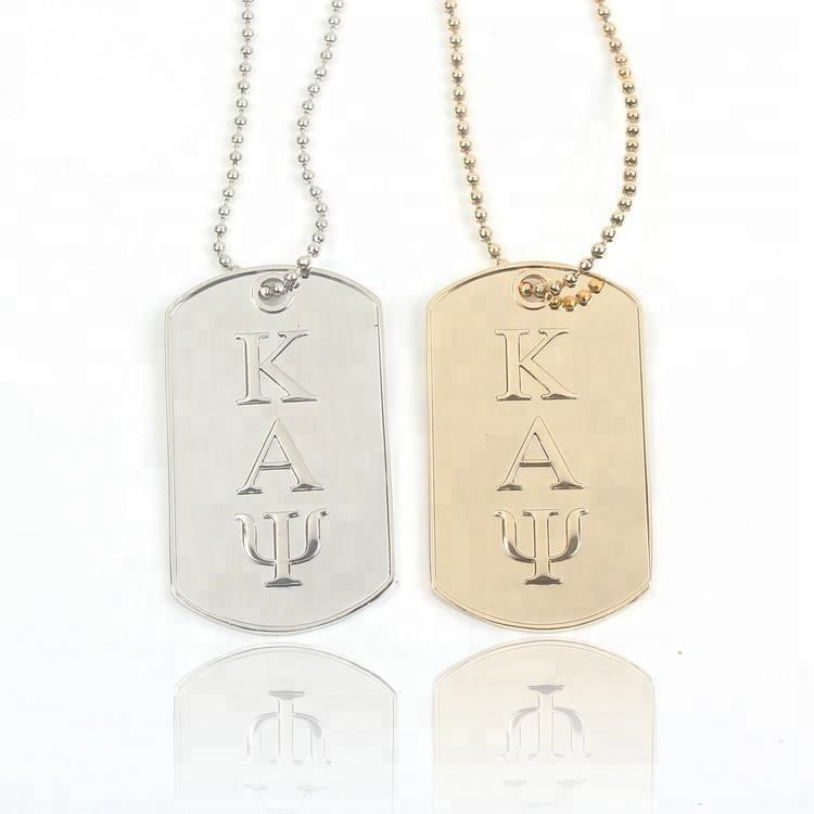Engraved Labels Custom 3D Embossed Brand Name Logo Zinc Alloy Metal Dog Tag Necklaces for Souvenirs