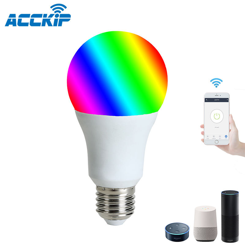 ANPU Lampadas WiFi LED Connect Tuya E27 9W Smart Bulb Work With Alexa Google Home Smart LED Light Bulb RGBCW Multi Color Change