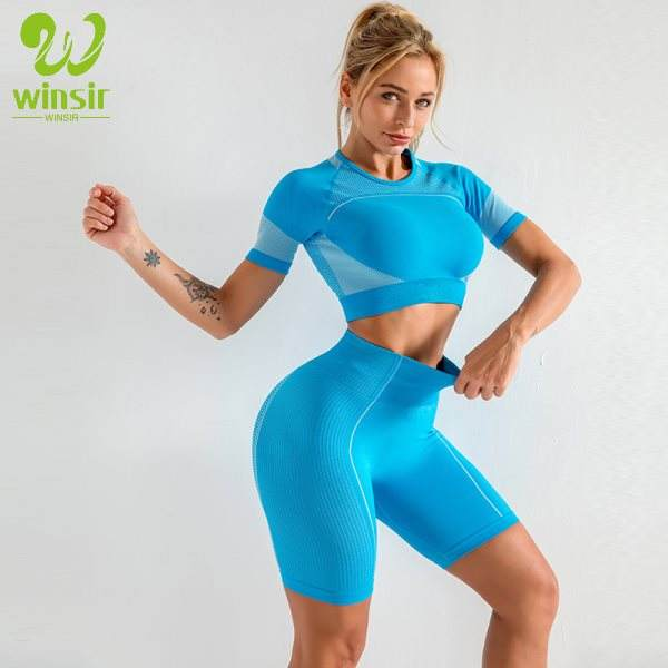 2020 Short Sleeve Crop Top Yoga Pant Gym Garment Manufacturer Seamless shorts Set Woman 2 Piece Women Outfit Sportswear