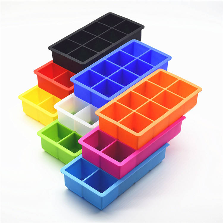 Silicone 8 Grid Ice Tray Mold Rectangle fruit Food Box bar Whiskey DIY Ice make Box Silicone Ice Cube Tray Mould