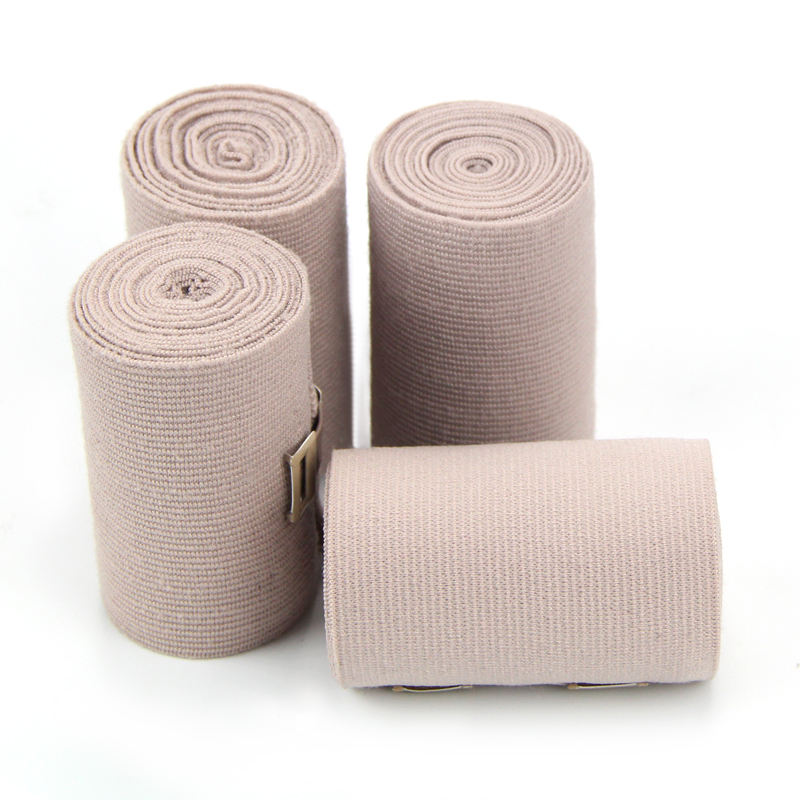 Hot Sale Skin Color Cotton Medical High Compression Elastic Bandage With Aluminium Clip