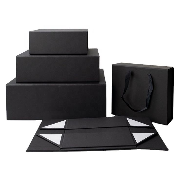 Wholesale Recyclable Custom Logo Printing foldable black paper box for gifts packaging