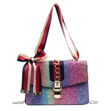 Wholesale Rainbow Color Stripe Handbag Jelly Color Woman crossbody bags women purse  handbags shiny fashion handbags for women