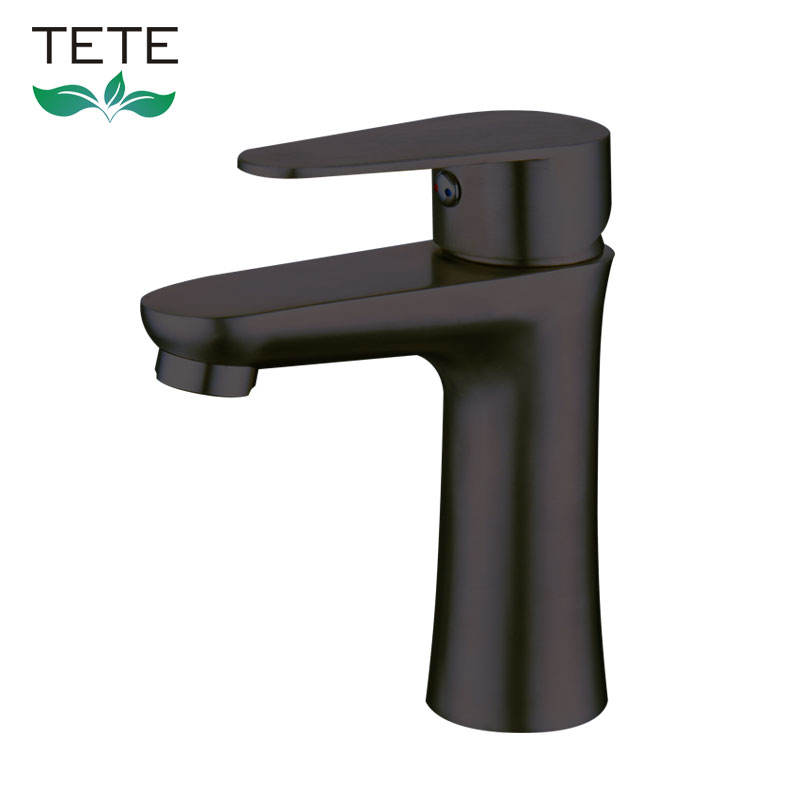 Hot sale brushed black single hole washing faucet single handle deck mounted hot cold mixer ceramic cartridge basin faucet