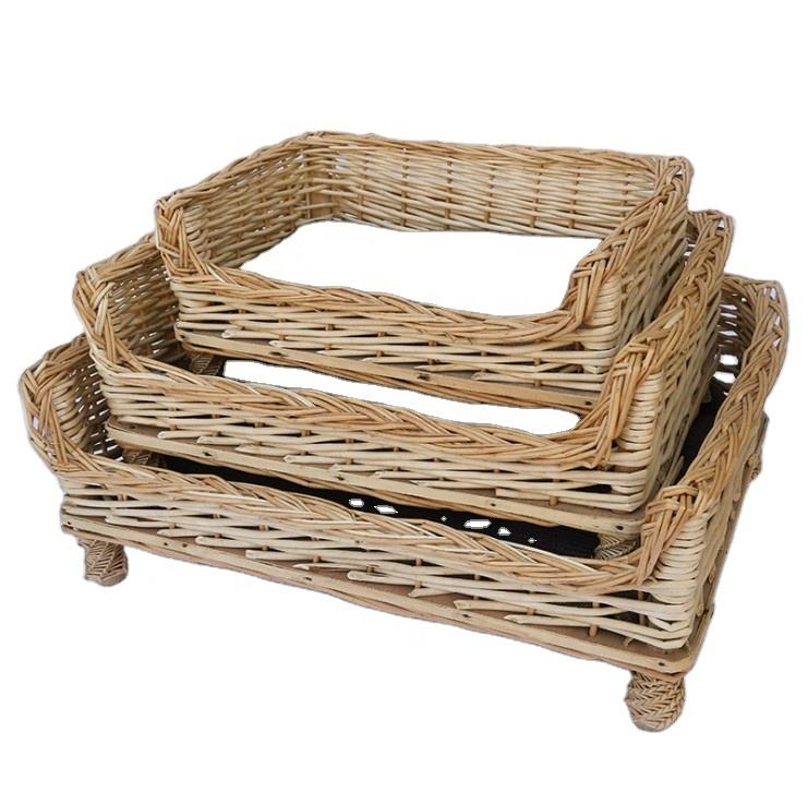High Quality Wicker Sallow Hand-knitted Pet Beds & House&Basket Cave for Cats Dogs Furniture