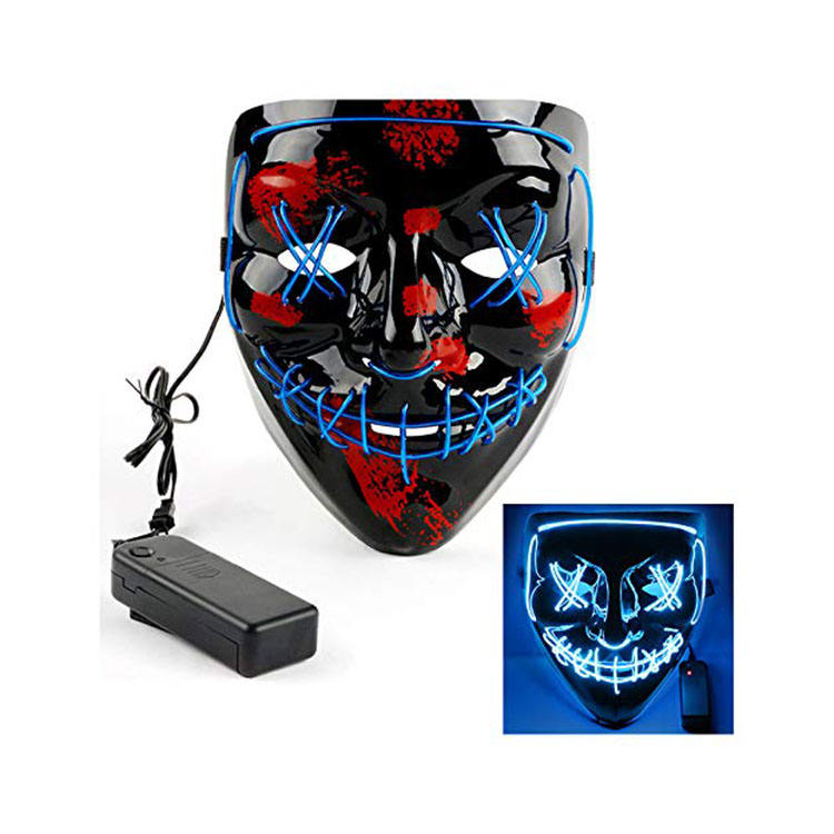 Halloween LED EL Wire neon flashing mask wholesale el party mask LED Party mask