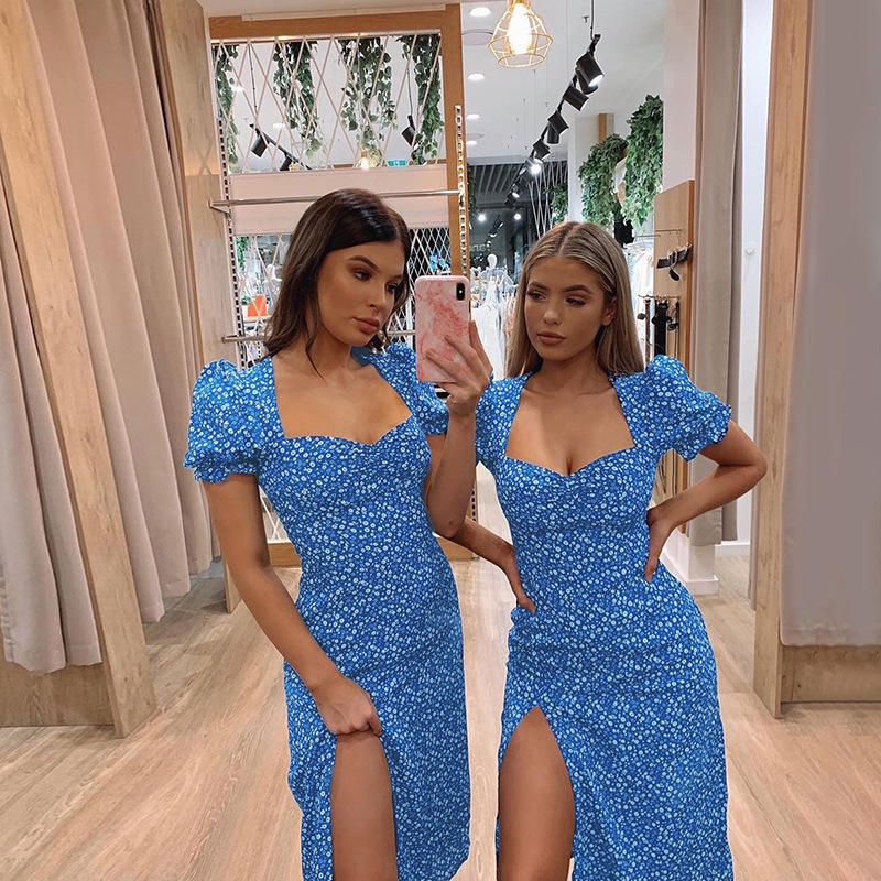 2020 Fashion New Summer Clothing Floral Printed Women One Piece Casual Slim Dresses Puff Sleeve Wholesale