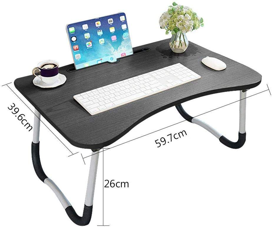 Wideny Home Working Wood foldable adjustable portable Multifunctional Laptop Table For Bed With Cup Holder Reading Book
