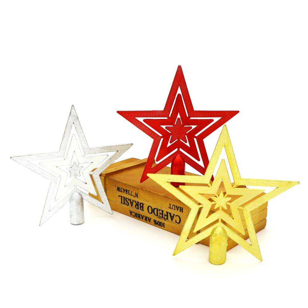 2020 Yellow Merry Christmas Tree Topper Star