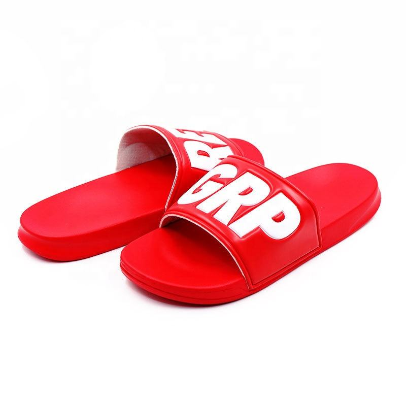 Wholesale Factory Custom Logo Pvc Pu Slippers With Embossed Printing Flip Flops For Company