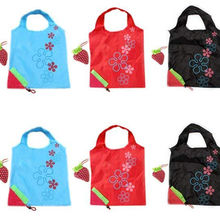 Promotion creative strawberry design print custom folding shopping bag