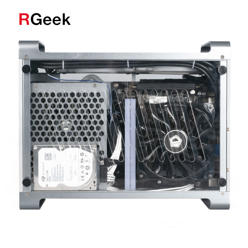 RGeek RGB Cool Hollow Aluminum Transparent Acrylic Panel Micro ITX ATX Gaming Computer PC CaseとGraphic Card Support