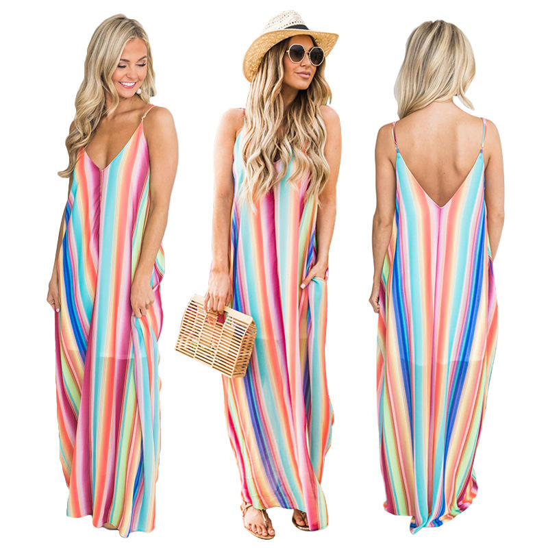 Color Stripe Rainbow Casual Summer Spaghetti Strap Dress For Lady Party Beach Sexy V Neck Chiffon Maxi Long flow Summer Dresses