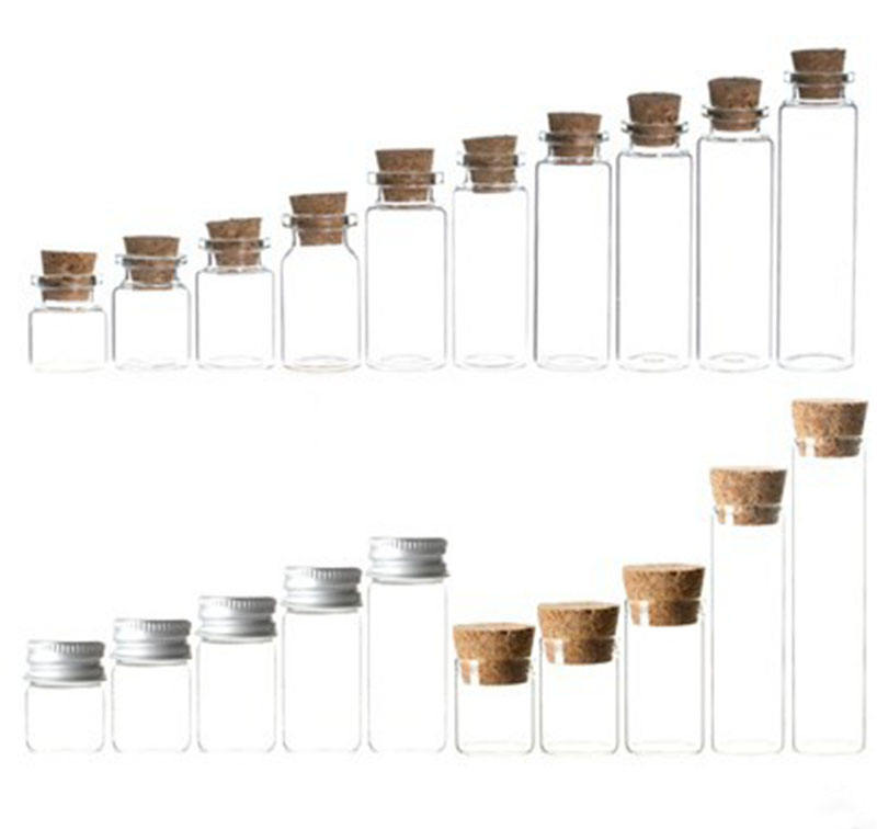 Wholesale mini wishing bottle 5ml 10ml 15ml 20ml 25ml glass vials Custom Logo Clear Glass Match Storage Jar with cork stopper