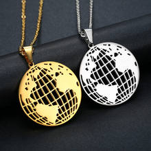 Creative world national map Pendant Necklace stainless steel clavicle accessories