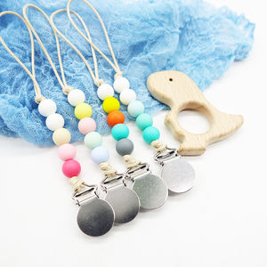 Custom Newborn Wooden Beads Fashion Baby Teething Toy Baby Teething Necklace Baby Silicone Pacifier Clip Chain Wholesale