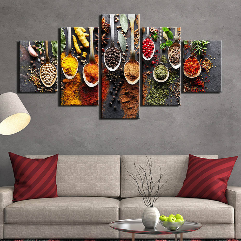 5 piece kitchen food canvas painting food Picture wall picture 5 panels spices living room wall art wall pictures