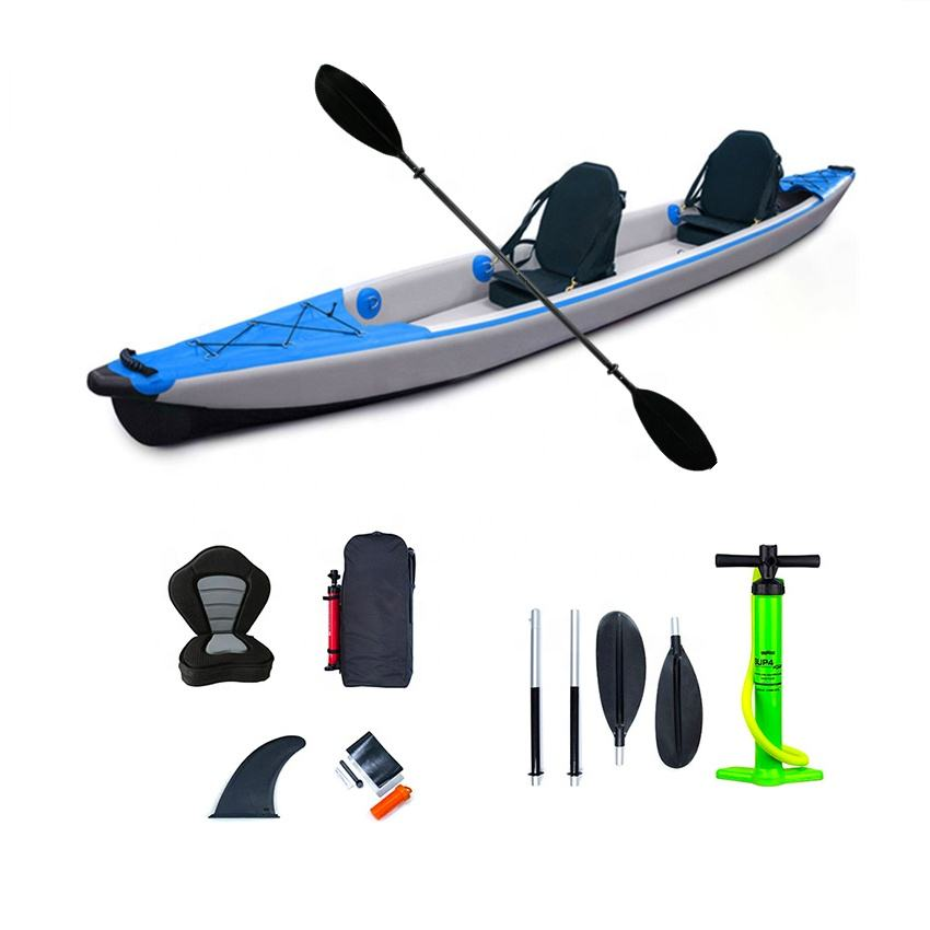 China <span class=keywords><strong>OEM</strong></span> Foldable 4.70m Full Drop Stitch Double Seater Inflatable Fishing Tandem Kayak