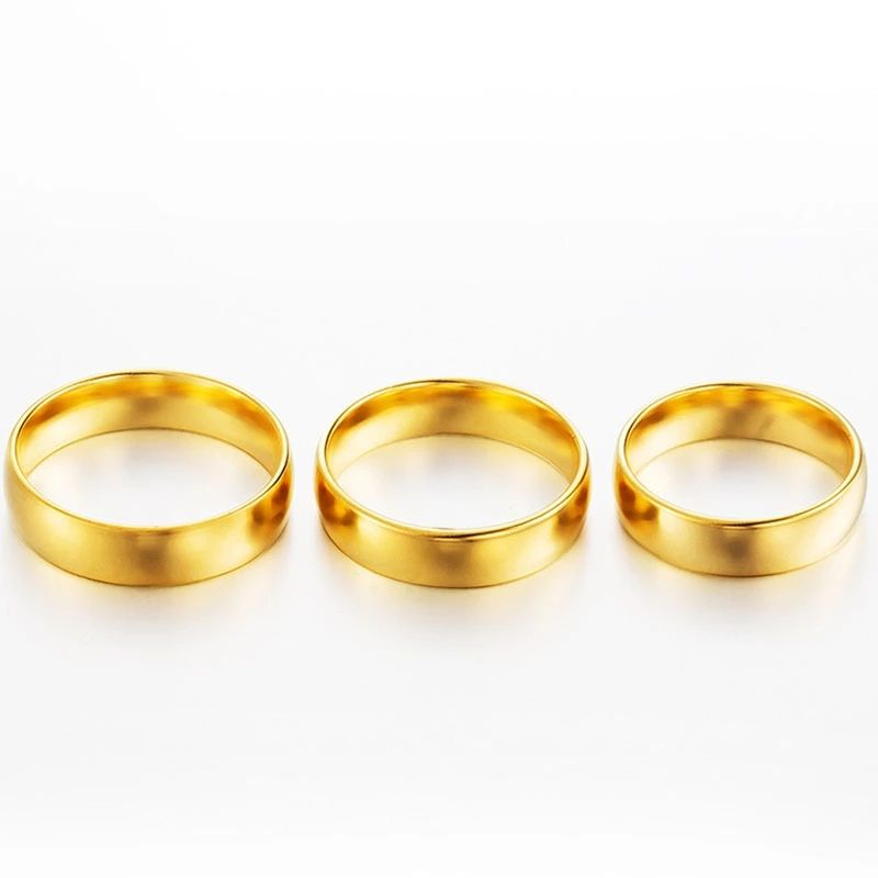 PUSHI gold plated jewelry genuine gold ring couple wedding ring jewelry for ladies women