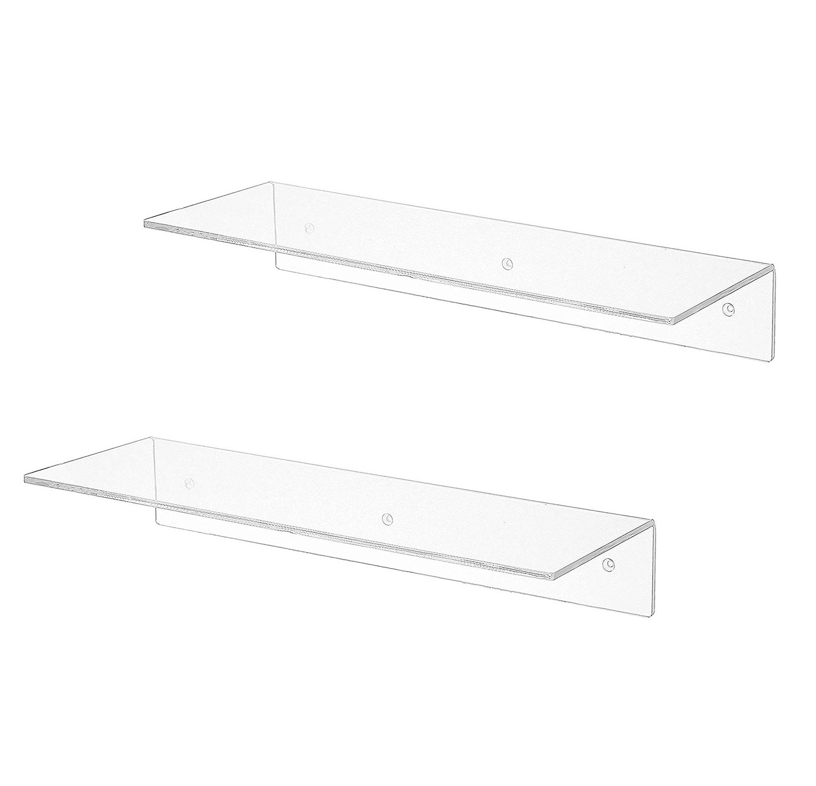 17 Inch Clear Acrylic Floating Shelves Wall Mounted Modern Display Racks