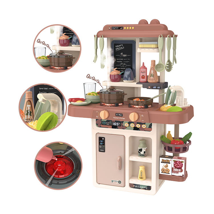 New plastic light pretend play cooking kitchen toy for girls with music