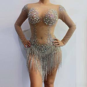 Women Birthday Shining Silver Sequins Rhinestone Sexy Costume Prom Celebrate Bling Dresses Evening Outfit bodysuits