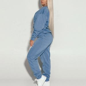 Oem plain oversized fitness sport sweatsuit custom high quality plus size women tracksuit