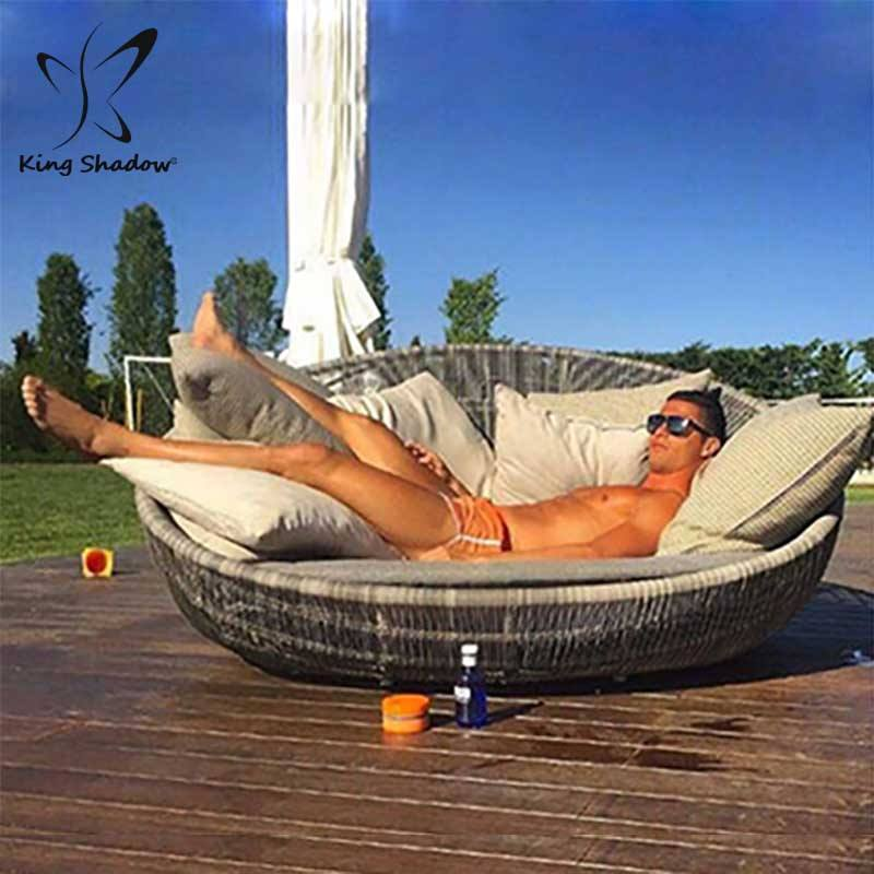 Luxury Elegent Hotel leisure big lounge aluminum patio sun bed with canopy swimming pool garden furniture metal outdoor daybed