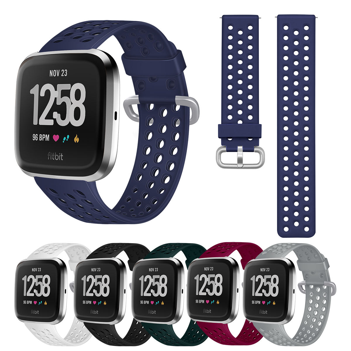 Wholesale for Fitbit Versa /Versa 2 Soft Rubber Silicone Breathable Holes Replacement Watch Band