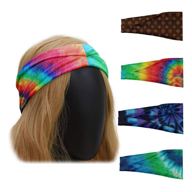 Pure 2020 Girls Blank Tie Dye Printed Headband Wholesale Custom Sport Athletic Women Hair Accessories